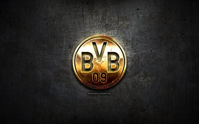 Borussia Dortmund FC, golden logo, Bundesliga, black abstract background, soccer, german football club, Borussia Dortmund logo, football, BVB, Germany