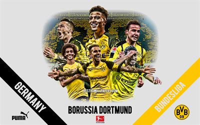 Borussia Dortmund, BvB, German football club, football players, leaders, Borussia Dortmund logo, emblem, Bundesliga, Dortmund, Germany, creative art, football, Marco Reus, Jadon Sancho, Axel Witsel, Paco Alcacer