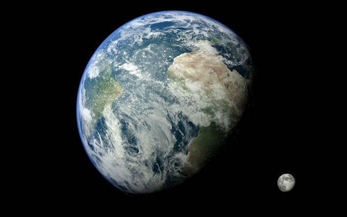 Earth with moon, open space, planet and satellite, Solar System, Earth