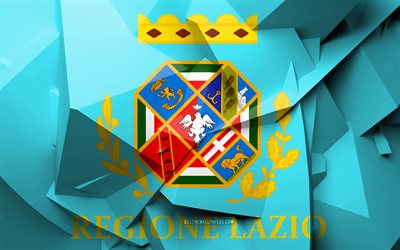 4k, Flag of Lazio, geometric art, Regions of Italy, Lazio flag, creative, italian regions, Lazio, administrative districts, Lazio 3D flag, Italy