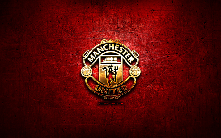 Download Wallpapers Manchester United Fc Golden Logo Premier League Red Abstract Background Soccer English Football Club Manchester United Logo Football Manchester United England For Desktop Free Pictures For Desktop Free