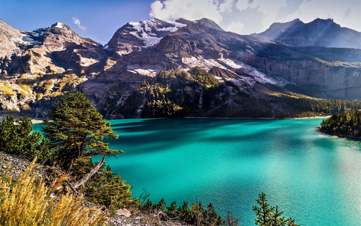mountain lake, glacier lake, mountain landscape, emerald lake, mountains