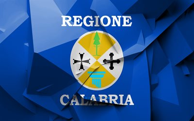4k, Flag of Calabria, geometric art, Regions of Italy, Calabria flag, creative, italian regions, Calabria, administrative districts, Calabria 3D flag, Italy