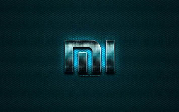 Download Wallpapers Xiaomi Glitter Logo Creative Blue Metal