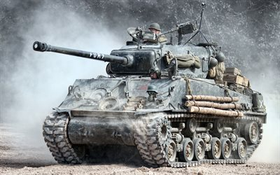 M4 Sherman, US medium tank, World War II, M4A3 Sherman, US Army, HDR, artwork, tanks