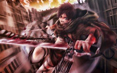 Herunterladen Hintergrundbild 4k Eren Yeager Kampf Attack On