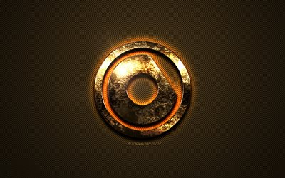 nicky romero gold-logo, creative art, gold textur, american dj, brown carbon-faser-textur, nicky romero gold-emblem, nicky romero, marken