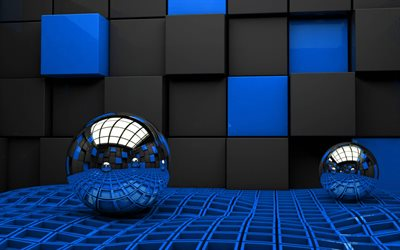 metal 3D spheres, 4k, blue and black cubes, 3D metal balls, spheres, cubes, 3D art