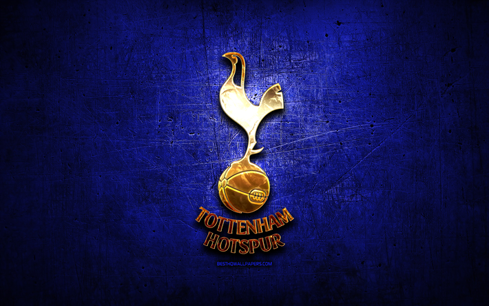 Download Wallpapers Tottenham Hotspur Fc Golden Logo Premier League Blue Abstract Background Soccer English Football Club Tottenham Hotspur Logo Football Tottenham Hotspur England For Desktop Free Pictures For Desktop Free