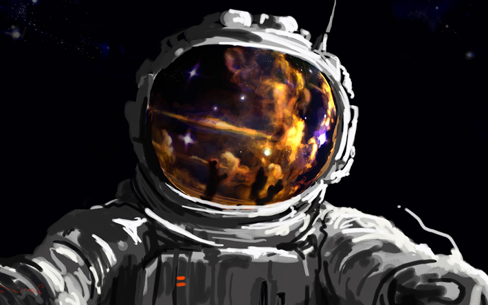 4k, Astronaut in space, painting art, orbit, galaxy, NASA, astronaut on orbit, astronaut