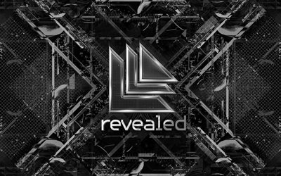 Revealed Recordings logo, digital art, music labels, black abstact background, fan art, brands, Revealed Recordings, creative