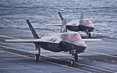 US Army, Lockheed Martin F-35 Lightning II, aircraft carrier, fighters, combat aircraft, two jet fighters, Lockheed Martin