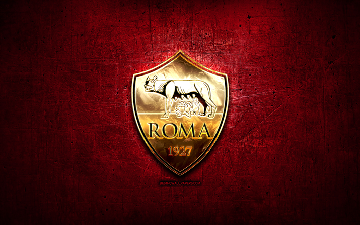 Download Wallpapers As Roma Golden Logo Serie A Purple Abstract Background Soccer Italian Football Club Roma Logo Football Roma Fc Italy For Desktop Free Pictures For Desktop Free