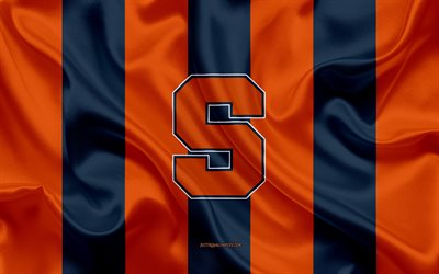 Syracuse Orange, squadra di football Americano, emblema, bandiera di seta, arancio e blu di seta texture, NCAA, Syracuse Orange logo, Syracuse, New York, stati UNITI, football Americano