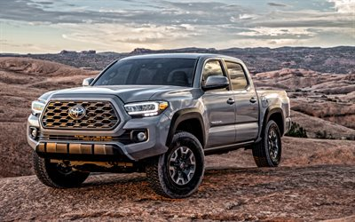 Toyota Tacoma TRD, 2020, front view, exterior, gray pickup truck, new gray Tacoma, american cars, Toyota