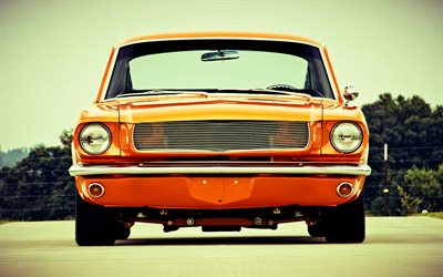 Ford Mustang, front view, 1967 cars, tuning, retro cars, muscle cars, orange Mustang, 1967 Ford Mustang, american cars, Ford
