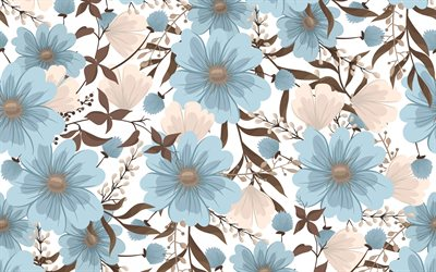 retro flowers texture, blue brown flowers texture, retro floral background, texture with flowers, retro backgrounds