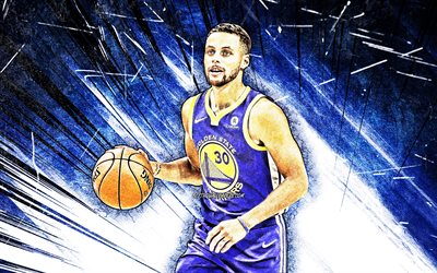 Stephen Curry, grunge, arte, NBA, 4k, Golden State Warriors, stelle di basket, Steph Curry, blu, astratto raggi, Stephen Curry dei Golden State Warriors, basket, Stephen Curry 4K