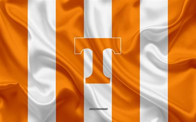 Tennessee volunteers, équipe de football Américain, l'emblème, le drapeau de soie, orange-blanc, soie, texture, NCAA, Tennessee volunteers logo, Knoxville, Tennessee, états-unis, le football Américain, de l'Université du Tennessee