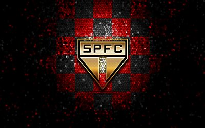 Sao Paulo FC, glitter logo, Serie A, red black checkered background, soccer, Sao Paulo, brazilian football club, Sao Paulo FC logo, mosaic art, football, Brazil, SPFC
