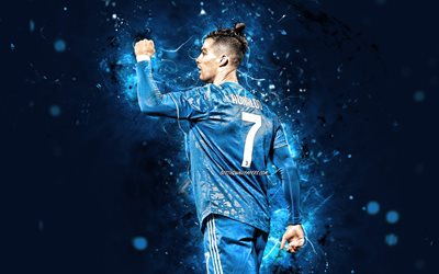 4k, Cristiano Ronaldo, back view, 2020, Juventus FC, CR7, blue uniform, portuguese footballers, Italy, Bianconeri, soccer, CR7 Juve, football stars, Serie A, blue neon lights