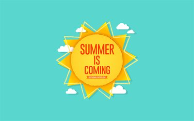 Summer is coming, sun, blue background, summer concerts, summer art, paper sun, Summer is coming concerts