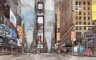 Times Square, New York, USA, grunge, arte, creativo, dipinto a Times Square, disegno, arte digitale, New York grunge