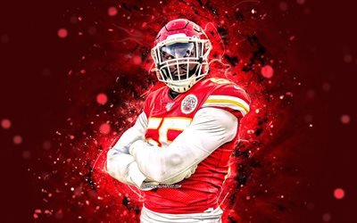 frank clark, 4k, defensive end, kansas city chiefs, american football, nfl, frank dominick clark, national football league, kc chiefs, frank clark 4k, rot, neon-lichter, frank clark kc chiefs