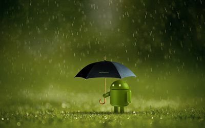 Android, pioggia, bokeh, creativa, grafica Cartoon Android