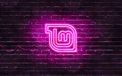 Linux Mint Mate purple logo, 4k, purple brickwall, Linux Mint Mate logo, Linux, Linux Mint Mate neon logo, Linux Mint Mate