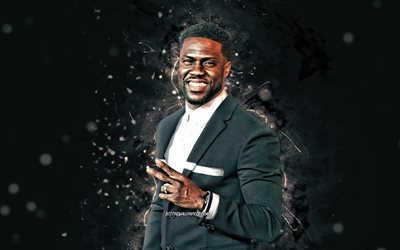 Kevin Hart, 4K, american actor, white abstract rays, movie stars, Hollywood, Kevin Darnell Hart, american celebrity, creative, Kevin Hart 4K