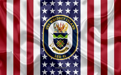 USS Whidbey Island Emblem, LSD-41, American Flag, US Navy, USA, USS Whidbey Island Badge, US warship, Emblem of the USS Whidbey Island