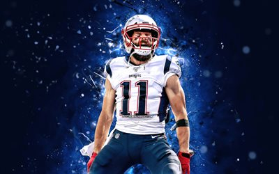 Julian Edelman, 4k, NFL, New England Patriots, wide receiver, blue neon lights, Julian Francis Edelman, artwork, Julian Edelman New England Patriots, Julian Edelman 4K