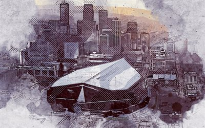 us-bank stadium, minneapolis, minnesota, usa, grunge, kunst, gemalt, us-bank-stadion, zeichnung, us-bank-stadion grunge, digitale kunst, minneapolis grunge, minnesota vikings-stadion, nfl