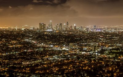 Los Angeles, night, skyline, panorama, Los Angeles cityscape, metropolis, modern city, modern buildings, California, USA