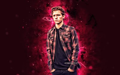 tom holland, 4k, britischer schauspieler, film-stars, fan-kunst, thomas stanley holland, britische promi -, lila-neon-lichter, kreativ, tom holland 4k