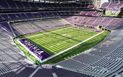 us-bank-stadion, auf dem schiff, minnesota vikings, minneapolis, minnesota, american football field, minnesota vikings-stadion, nfl, american football, usa