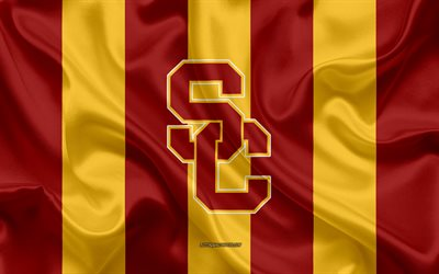 USC Trojans, American football team, emblem, silk flag, red-yellow silk texture, NCAA, USC Trojans logo, Los Angeles, California, USA, American football, University of Southern California
