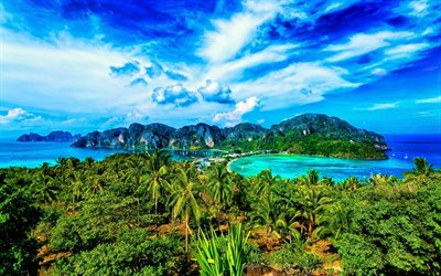 Thailand, tropics, ocean, mountains, harbor, beautiful nature, palm trees, Asia, HDR