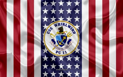 USS Whirlwind Emblem PC-11, American Flag, US Navy, USA, USS Whirlwind Badge, US warship, Emblem of the USS Whirlwind