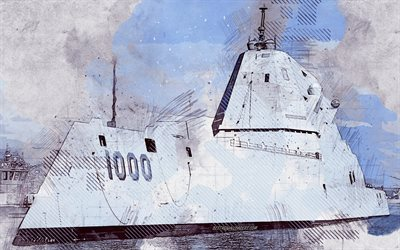 USS Zumwalt, DDG-1000, USA, grunge art, creative art, painted USS Zumwalt, drawing, USS Zumwalt grunge, digital art, US Navy, painted warships