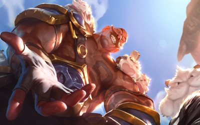 Braum, batalha, MOBA, guerreiros, League of Legends, Jogos de 2020, Lendas de Runeterra, obras de arte, Braum League of Legends