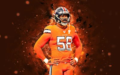 4k, von miller, 2020, linebacker, denver broncos, football, orange uniform nfl, von bvsean miller jr, national football league, neon lichter, von miller-denver broncos von miller 4k