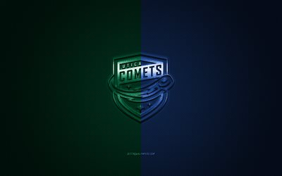 Utica Comets, American hockey club, AHL, verde-blu, logo, verde-blu in fibra di carbonio sfondo, hockey, Utica, New York, USA