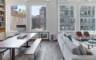 New York City Apartment interior, american style interior, living room, modern interior design, New York