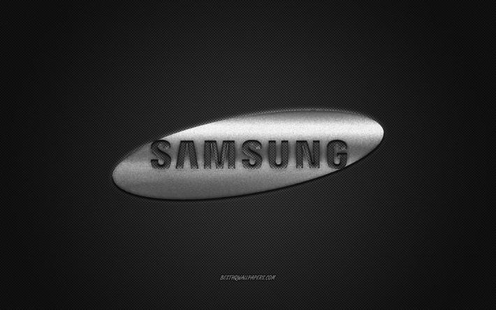Download Wallpapers Samsung Logo Silver Shiny Logo Samsung Metal Emblem Wallpaper For Samsung Devices Gray Carbon Fiber Texture Samsung Brands Creative Art For Desktop Free Pictures For Desktop Free