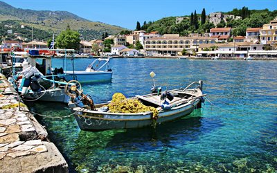 Mediterranean Sea, coast, bay, boats, Greek city, mountain landscape, Greece