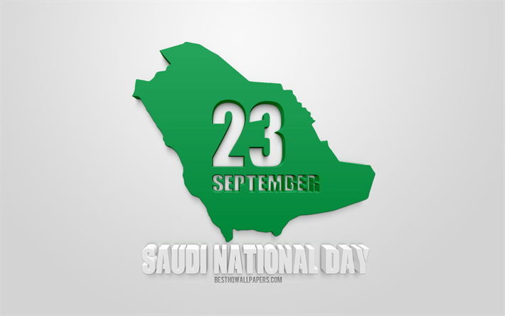 saudi national day, 23 september, nationalfeiertag, saudi-arabien, 3d-karte mit silhouette von saudi-arabien