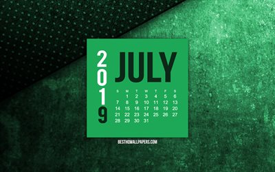 2019 July calendar, green grunge background, 2019 calendars, July, 2019 concepts, green 2019 July calendar