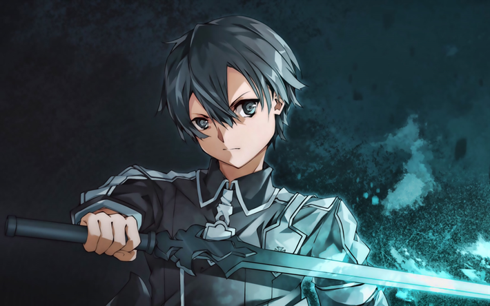 Kirito with sword, Kazuto Kirigaya, manga, artwork, Sword Art Online, Kirito